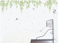 Stickers muraux Green Leaves Oiseaux Style Setting Chambre Stickers Creative Chambre Décoration Fond Famille PVC Wallpaper étanche amovible