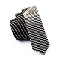 Wholesale Narrow Silk Ties - Hot Sole !Men Silk Business Formal Tie Party Club Solid Necktie 5.5cm Gray Stripes Korean Male Casual Narrow Ties E-211