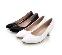 Wholesale Classic Women Dresses For Wedding - Women's genuine leather med heels 2016 New High Quality Shoes Classic Black&White Pumps Shoes for Office Ladies Shoe,size34-40