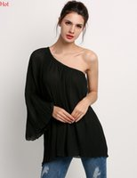 Wholesale Chiffon Shirt Black Shoulder - Hot Long Off One Shoulder Dress Party Casual Mini Dresses Women Clothing Chiffon Dress Summer Asymmetric Shirt Dress Blouse Black SV027605