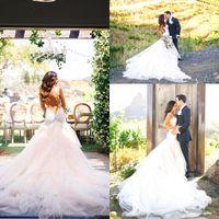 Wholesale Chapel Mermaid Sleeveless - Sweetheart Spaghetti Mermaid Wedding Dresses Backless Applique Tulle Wedding Gowns Sleeveless Chapel Train Tulle Bridal Gowns