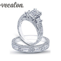Wholesale Vintage Princess Rings - Vecalon Vintage Luxury Jewelry Women ring Princess cut Simulated diamond Cz 925 Sterling Silver wedding Band ring Set for women