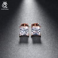 grandes tachuelas de oro al por mayor-Plata / 18K chapado en oro rosa 1ct Cushion Cut CZ Diamond Nickel Free Large Stud Earrings Wholesale para mujeres