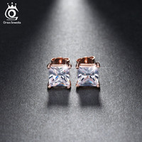 Wholesale Wholesale Silver Cushions - Silver 18K Rose Gold Plated 1ct Cushion Cut CZ Diamond Nickel Free Large Stud Earrings Wholesale for Women OE148