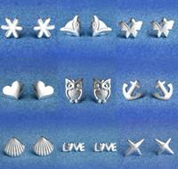 925 silberner ohrringschmetterling großhandel-925 Sterling Silber Ohrringe S925 Mix Styles Eule Liebe Fuchs Sonnenblume Stern Muschel Herz Schmetterling Anker Ohrstecker Ohrringe Schmuck für Frauen