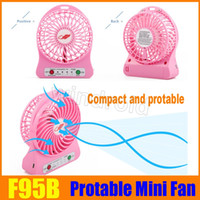 Free DHL F95B portable Mini ventilateur USB rechargeable à pile LED lampe pour intérieur Outdoor Kids Table 18650 batterie paquet de vente au détail 10pcs