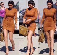 Wholesale women s winter dress tights - 2016 Long Sleeve Slim Party Dress Sexy Club Brown Vestido Women Winter Dresses Kylie Jenner Skin Tight Faux Suede Bodycon Dress