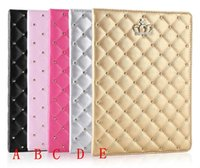 Wholesale Crown Smart Case Pouch - For ipad case iPad mini cases ipad2 3 4 Phone pouch Rhinestone Crown rivet Smart Cover with stand shockproof Dormancy pc pu leather