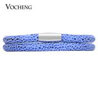 Wholesale Singles Bangles - VOCHENG Endless Blue Sheepskin Garden Bracelet 4 Sizes Single&Double Stainless Steel Magnet Clasp Interchangeable Leather Bangle VC-205
