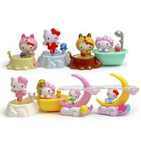 figura gatito al por mayor-8 unids Kawaii Hello Kitty Figuras Dollhouse Juguetes Hadas Miniaturas Jardín Terrario Figuras Bonsai Gnomos Jardim Bebé Regalo DIY Decoración para el hogar