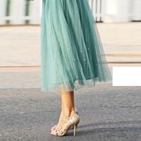 Midi Satin Dress online - 2016 Sweet Pearl Mint Tulle Skirts For Women Tea Length Aline Satin Waist Bow Beach Summer Women Dresses Short Girls Skirts Midi Dresses
