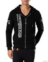 Wholesale Leather Sleeve Sweatshirt Mens - 2017 Hot Sell Men's Jacket Length Sleeve Hoodies Sweatshirts Print Skull Hoody Hooded Mens Zipper Leather Outwear 6181