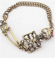 Wholesale Bow Bracelets Chain - Hot Selling European And American Fashion Retro Exaggerated Bow Skull Alloy Chain Bracelet For Women
