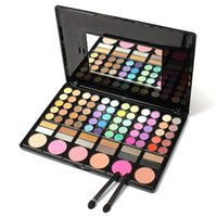 Boîte à cosmétiques réfléchie Prix-Fashion 78 Colors Pro Eyeshadow Palette Maquillage en poudre Cosmetic Brush Kit Box avec miroir Femme Make Up Tools Eye Shadow