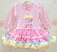 Knee-Length spring candle - Exquisite Workmanship Baby Birthday Cake Dress Lovely Bow Embroidery Candle at Collar Multicolor TUTU Hem Long Sleeves
