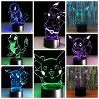 Wholesale Touch Led Table - Poke Pikachu 3D LED Night Light 7 Colors Change Touch Table Desk Lamp 3d Night Light Touch Acrylic LED Lamp KKA1298