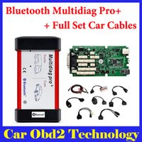 Wholesale Set Truck Cables - 2014.3 2015.3 Free Keygen ! Single PCB CDP Bluetooth Multidiag Pro+ for Cars Trucks and OBD2 With 4GB Card + Full Set Car Cables by DHL