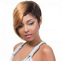 Wholesale multi color cosplay wigs - Pixie Short Hot New Stylish Ombre Straight Multi -Color Ladies Fashion Sexy Party Cosplay Synthetic Hair Wigs Wig In Stock