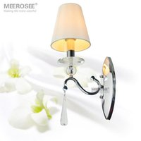 Wholesale Wall Light Crystal Fixtures - Hot Sale Crystal Wall lighting fixture Silver Wall Sconces lamp with fabric lampshade Modern wall brackets light 100% Guaranteed