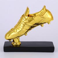 botas de resina al por mayor-18k Gold Resin Football Boot Champions Award Shoes Replica El Mejor Jugador Trofeo Cup Fans Souvenir Collectibles 28cm 1.7kg