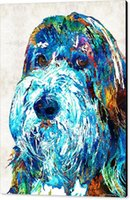 painting dog portraits - Giclee colorful bearded collie art dog portrait by sharon cummings sharon cummings oil painting arts and canvas wall decoration