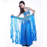 Wholesale Belly Dancing Bra Scarf - Size S-XL Belly Dancing Clothing Oriental 3PCS Suit Bra, Hip Scarf Tassel Long Skirt Chiffon Belly Dance Costume Set Performance