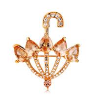 kristal şemsiye toptan satış-Perakende Sıcak Marka Neoglory Takı Kadın Küçük şemsiye Kristal Broş Ile Kadınlar Takı Broşlar Drop Shipping altın Renk BC-0013