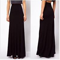 Wholesale Black High Waist Skirt Large - Hot 2016 New Fashion Brand Spring Summer Large Plus Size High Waist Maxi Cotton Full Length Stretchy Skirt Long Maxi Women Skirt