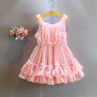 Wholesale Cute Chinese Girls - halloween 2016 New Adorable Fashion Cute Pearl Pink Ruffle Ball Skirt Flower Girl Dresses Baby Toddler Party Little Girls Pageant Dresses