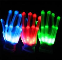 handschuh finger lichter großhandel-Paar bunte LED-Handschuhe Rave Light Finger Lighting Flashing Gloves Unisex-Skelett-Handschuh