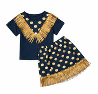Wholesale Blue Dot Skirt Girls - Baby Girls Tassel Sets 2016 New Kids Girl Polka Dot Print T-shirt + Tassel Skirt 2pcs Suits Princess Outfits Children Clothing TL176