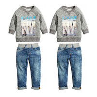 Wholesale Boys 3t Sweater - Hot Sale Baby Kids Boys Autumn Cotton Coat Shirt Sweater + Jeans Denim Pants Outfits Kids Boys Winter Clothes Set 2pcs