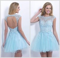 Wholesale Cheap Shiny Party Dresses Short - New Party Dress Top Sale Tulle Crystals Sparked Sleeveless Iullsion Customize Formal New Arrival Backless Sequin Shiny Prom Cheap Cocktail