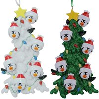 Wholesale Painted Penguin - Resin Penguin Family Of 6 Christmas Ornaments With White Tree As Personalized Gifts Holiday Home Decor Hand Painted Souvenir