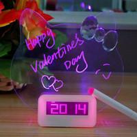 Wholesale Digital Snooze Alarm Clock Bedside - Blue Red LED Fluorescent Digital Alarm Clock Message Board Snooze Digital Clock With Calendar Bedside Despertador Desk Clock