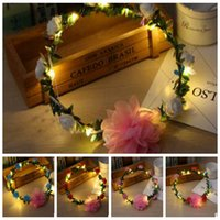 Wholesale Led Headbands Light Up - Fashion Women LED Roses Floral Headbands Glowing Light-up Flower Hair Garland Wreath Party Wedding Supplies Floral Crown Garland KKA2686
