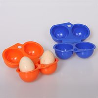 Wholesale Plastic Egg Carriers - 2016 New Portable Egg Storage Box Container Hiking Outdoor Camping Carrier For 2 Egg Case Blue Orange Color