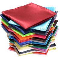 Wholesale Mens Silk Handkerchiefs Wholesale - 2017 NEW New Mens Polyester silk Satin Solid Plain Color Handkerchief Wedding Party Hanky Pocket Square Handkerchief MYY