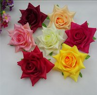 Wholesale Decorative Flower Brooch - 13cm Decorative Artificial Fabric Large Rose Flower Heads For DIY Brooch Flower Hair Wreath Wedding Dress Accessories