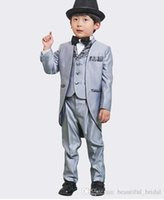 Wholesale Images Boy Accessories - Silver Real Picture Three Piece Classic Handsome boy wedding suit Groom Wear & Accessories Boy's Attire Groom Tuxedos Boys' Formal