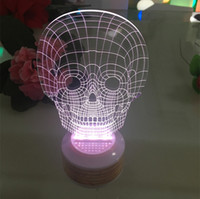 Wholesale Music Baby Speaker - Cool 3D Skull USB Bluetooth Speaker Music Led Lamp Smart Phone Controller Home Lighting Table Lampara Baby Sleeping Night Lights