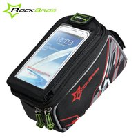 Wholesale Mtb Frame Bag Pannier - ROCKBROS Waterproof MTB Bike Bicycle Front Top Frame Handlebar Bag Cycling Pouch Touchscreen Panniers Reflective Bags 2 Sizes