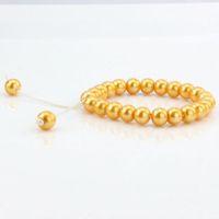 Wholesale Elasticity Bracelets - Hot Sell ! 100 pcs Gold Round Glass Beads Elasticity Bracelets 8mm DIY Jewelry