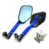 motorradspiegel blau großhandel-Legierung blau Motorrad Spiegel Rückspiegel Aluminium Spiegel Rückspiegel Passt alle Motorräder Fahrrad Fahrrad Spiegel 8mm 10mm