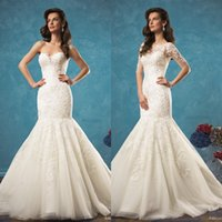 Wholesale Lace Bolero Button Back - 2017 Amelia Sposa Two Pieces 2 in 1 Style Mermaid Wedding Dresses Vestido with Removable Lace Bolero Low Back Fit and Flare Bridal Gowns New