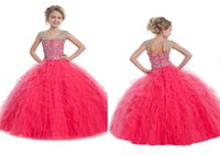 Wholesale Bubble Cascade - Custom Made Princess Girl Pageant Dress Cascading Ruffles Bubble With Beadings Kids Ball Gowns For 2-16 Years