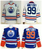 ingrosso youth hockey jersey-Alta qualità ! CCM Youth Kids Edmonton Oilers Maglie da hockey su ghiaccio Cheap # 99 Wayne Gretzky Blu Bianco Ragazzi maglie maglie con cucitura autentica
