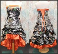 Wholesale Strapless Champagne Short Dress Sale - Gothic Victorian Orange Camo Bridesmaid Dresses Actual Image Strapless A-line Top Corset Ruched High Low Wedding Party Gowns Hot Sales