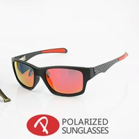 Sports squared carbon - 2016 Classics Jupiter Carbon Sports Sunglasses Polarized Oculos Women Men black plastic frame red fire Iridium mirror flash OO9220 OO4066