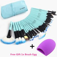 Wholesale Makeup Brushes 32 Set Pro - Vander Pro 32 Pcs Makeup Brushes Bag Blue Set Foundation Pinceaux Maquillage Cosmetics Brush Tools Kits + Cleaning Egg Brushegg